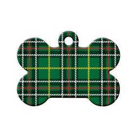 Newfoundland Tartan Pattern Bone Pet ID Tag