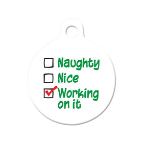 Naughty or Nice Circle Pet ID Tag