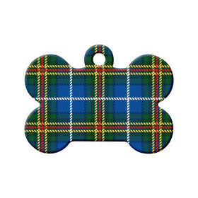 Nova Scotia Tartan Pattern Bone Pet ID Tag