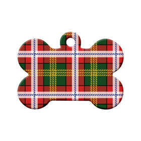 Northwest Territories Tartan Pattern Bone Pet ID Tag