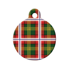 Northwest Territories Tartan Pattern Circle Pet ID Tag