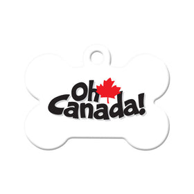 Oh Canada Maple Leaf Bone Pet ID Tag