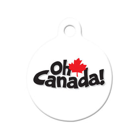 Oh Canada Maple Leaf Circle Pet ID Tag
