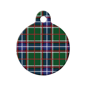 Ontario Tartan Pattern Circle Pet ID Tag