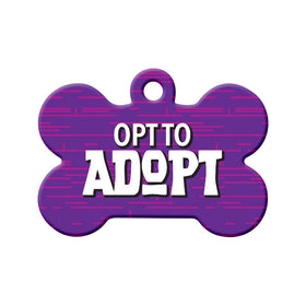 Opt to Adopt (Purple) Bone Pet ID Tag