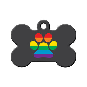 LGBT+ Rainbow Paw Pride Bone Pet ID Tag