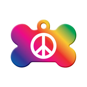 Peace Symbol Bone Pet ID Tag