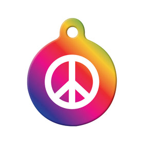 Peace Symbol Circle Pet ID Tag