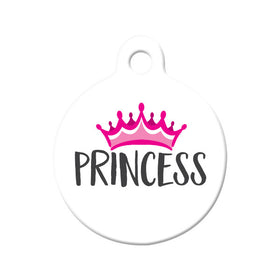 Princess with Crown Circle Pet ID Tag