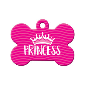 Princess with Crown Bone Pet ID Tag