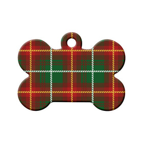 Prince Edward Island Tartan Pattern Bone Pet ID Tag