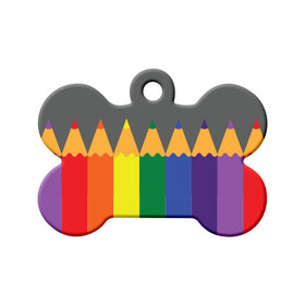 Rainbow Color Pencils Bone Pet ID Tag