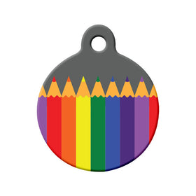 Rainbow Color Pencils Circle Pet ID Tag