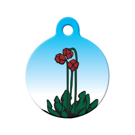 Newfoundland Pitcher Plant Art Circle Pet ID Tag