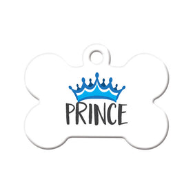 Prince with Crown Bone Pet ID Tag