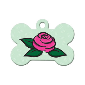 Pink Rose Floral Bone Pet ID Tag