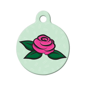 Pink Rose Floral Circle Pet ID Tag