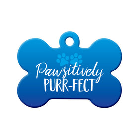 Pawsitively Purr-fect (Blue) Bone Pet ID Tag
