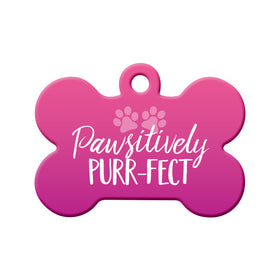 Pawsitively Purr-fect (Pink) Bone Pet ID Tag