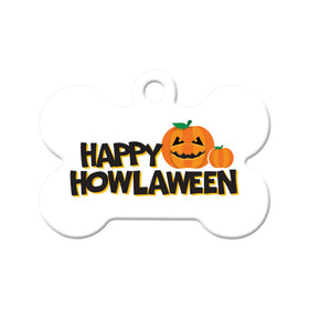 Happy Howlaween Pumpkin Bone Pet ID Tag