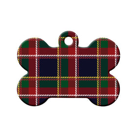 Quebec Tartan Pattern Bone Pet ID Tag