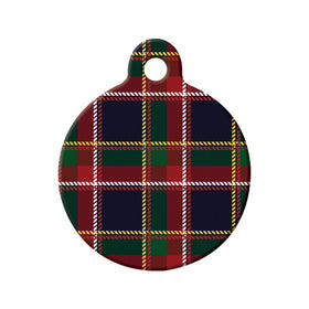 Quebec Tartan Pattern Circle Pet ID Tag