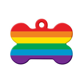 LGBT+ Pride Flag Bone Pet ID Tag