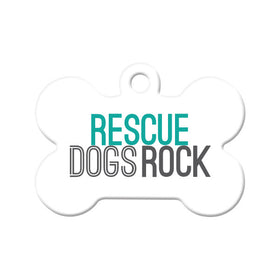 Rescue Dogs Rock Bone Pet ID Tag
