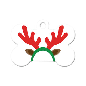 Reindeer Antlers/Ears Bone Pet ID Tag