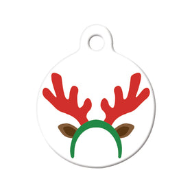 Reindeer Antlers/Ears Circle Pet ID Tag