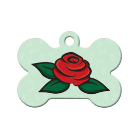 Red Rose Floral Bone Pet ID Tag