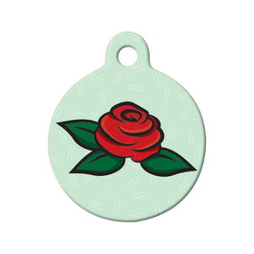 Red Rose Floral Circle Pet ID Tag