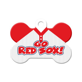 Go Red Sox! Baseball Tee Bone Pet ID Tag