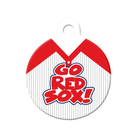 Go Red Sox! Baseball Tee Circle Pet ID Tag