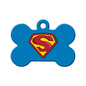 Superman, Supergirl, Superdog or Supercat Bone Pet ID Tag