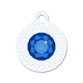 September Birthstone Pet Tag Circle Pet ID Tag