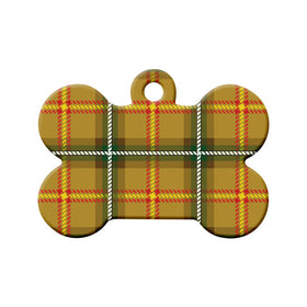 Saskatchewan Tartan Pattern Bone Pet ID Tag