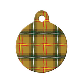 Saskatchewan Tartan Pattern Circle Pet ID Tag