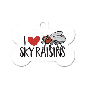 I Love Sky Raisins Bone Pet ID Tag