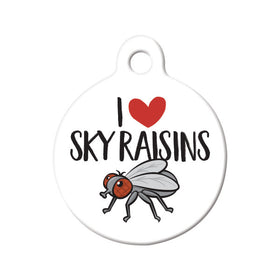 I Love Sky Raisins Circle Pet ID Tag
