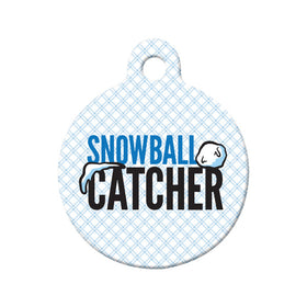 Snowball Catcher Circle Pet ID Tag
