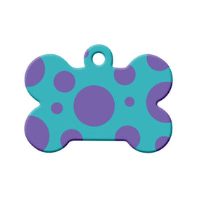 Polka Dot (Teal/Purple) Bone Pet ID Tag