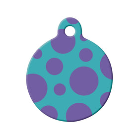 Polka Dot (Teal/Purple) Circle Pet ID Tag