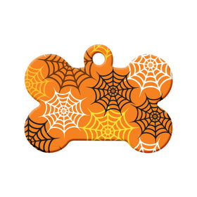 Spider Web Pattern Bone Pet ID Tag