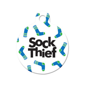 Sock Thief Circle Pet ID Tag