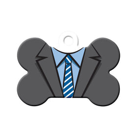 Suit & Tie Formal Wear Bone Pet ID Tag