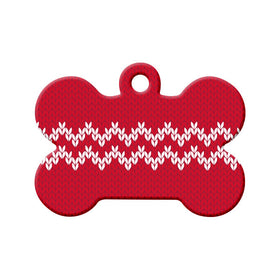 Christmas Sweater Pattern Bone Pet ID Tag