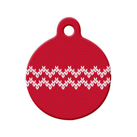 Christmas Sweater Pattern Circle Pet ID Tag