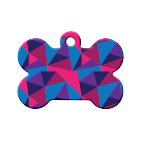 Abstract Blue Pink Purple Triangles Bone Pet ID Tag
