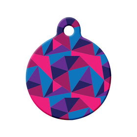 Abstract Blue Pink Purple Triangles Circle Pet ID Tag